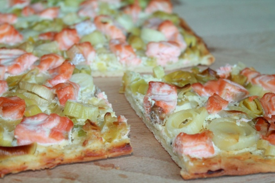 Pizza saumon poireau 2